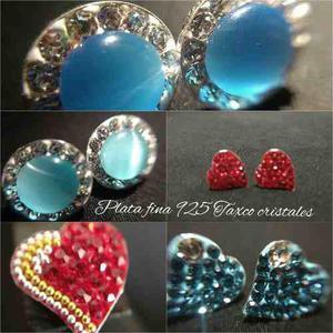 ee05e8ecd74d Aretes de plata fina 925 con cristales corazon varios modelo en ...