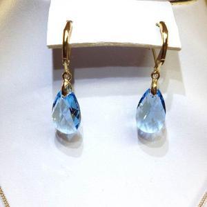 7c7ed4feb7dd Aretes gota cristal swarovsky azul c  chapa de oro