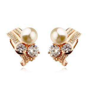 b2cdbadb972e Aretes swarovski chapa en oro rosa 18k perla sintetica - 48