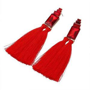 f93cf2158c4c Aretes tassel flecos largos cristal borlas rojo negro azul