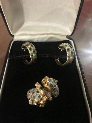 9e1b458bac43 Juego joyeria anillo y aretes esmeralda oro 14k zafiros