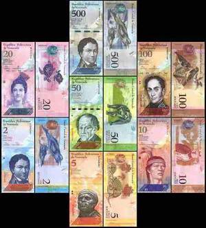 12 billetes venezuela unc de 2 a 20000 bolivares