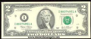 Billete de 2 dolares de estados unidos de la suerte