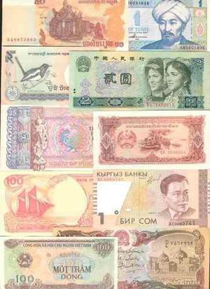 Colección de 10 billetes de asia