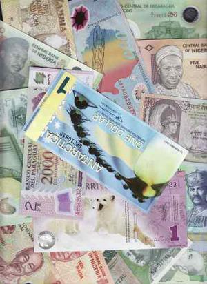 Colección de 15 billetes de polímero del mundo (plastico)