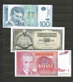 Colección de 3 billetes con nicola tesla