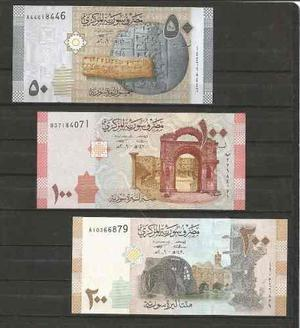 Coleccion de 3 billetes de siria actual