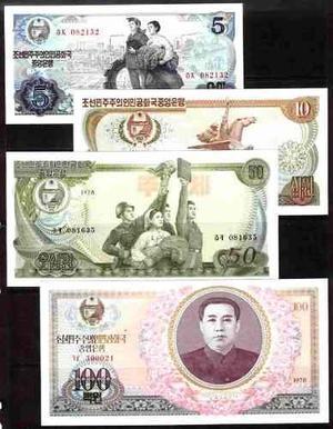 Coleccion de 4 billetes de corea del norte 2