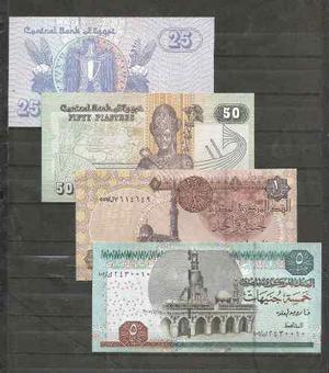 Coleccion de 4 billetes de egipto