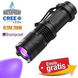 Lampara tactica uv luz negra 1200 lumens q5 led recargable