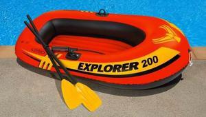 Lancha inflable intex explorer 200 con remos y bomba