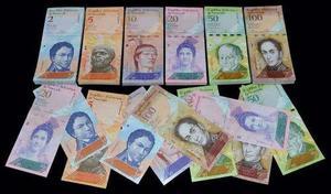 Juego 6 billetes venezuela unc 2-5-10-20-50-100 bolivares