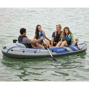 Lancha inflable intex excursion 4 personas remos de aluminio