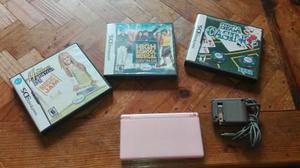 Nintendo ds lite rosa con juegos