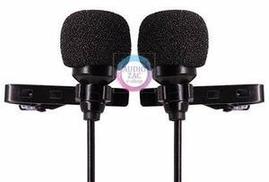 Microfono doble solapa lavalier iphone android camara 6 mts