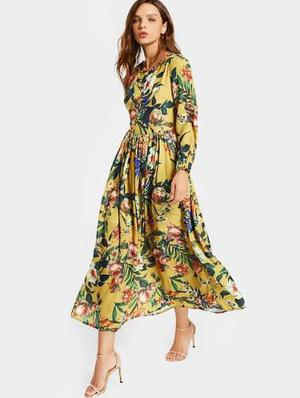 Cuello redondo de manga larga de impresión floral vestido