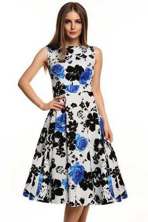 Elegante vestido vintage de la serie mujer floral sin mang