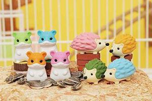 Iwako japonesa eraser, hamster animales y erizo 8 pcs