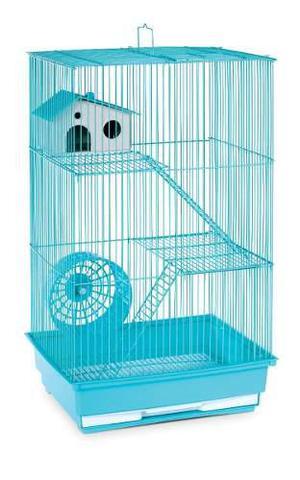 Jaula extra grande hamster resbaladilla bebedero rueda azul