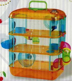 Jaula para hamster de 3 pisos con tubos de colores
