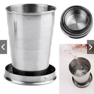 Llavero retractil en forma de vaso acero inoxidable 75 ml