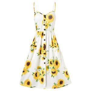 Mini vestido impresión girasol con correa espaguetis