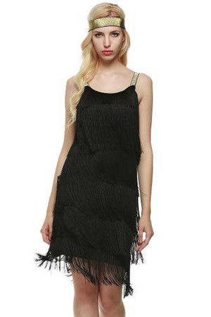 Moda correas vestido borlas fiesta vestido de traje de fleco
