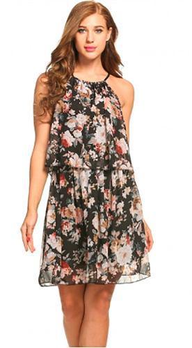 Pura ganga: hermoso vestido oriental sin mangas estampado fl