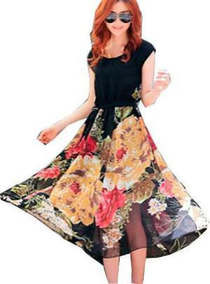 Pura ganga: maxi vestido oriental negro floreado