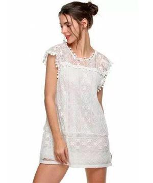 Pura ganga: mini vestido de playa blanco moda oriental