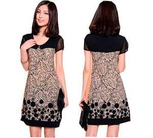 Pura ganga: mini vestido oriental manga corta