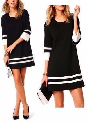 Pura ganga: vestido recto tipo retro blanco y negro