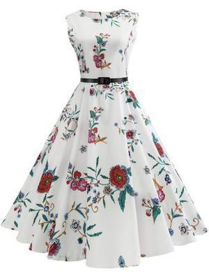 Vendimia flor impresión sin mangas la línea de vestido
