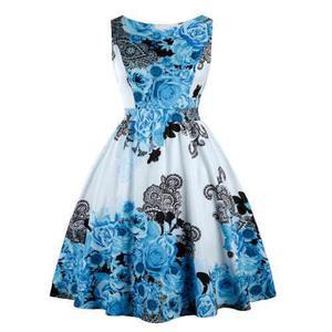 Vestido impresión floral vendimia zaful para mujeres