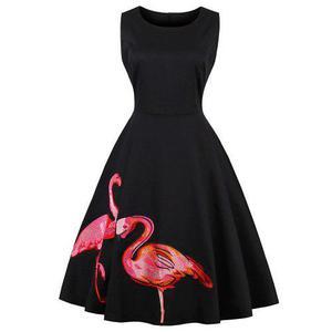 Vestido sin mangas hepburn vendimia serie dos flamenco print