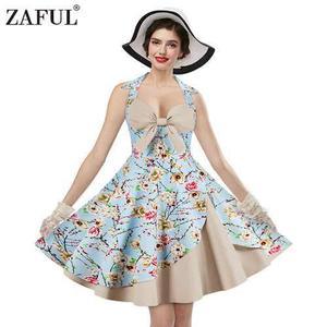 Zaful mujer vestido vintage floral de la impresión