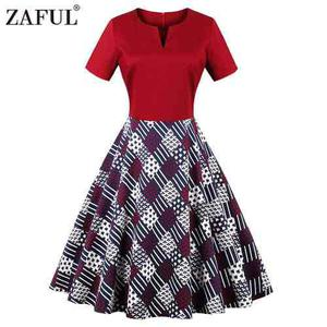 Zaful mujeres 50s partido paseo vendimia vestido