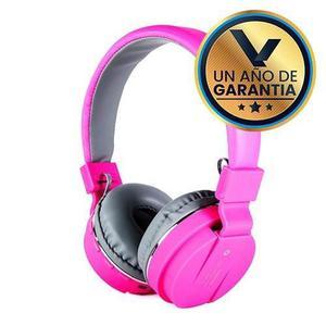 Audífonos diadema micrófono bluetooth rosa:: virtual zone