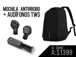 Redlemon paquete mochila antirrobo y audífonos