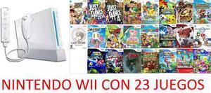 Nintendo wii, 1 control completo, usb con 23 juegos