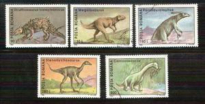 Dinosaurios animales prehistóricos rumanía 5 sellos