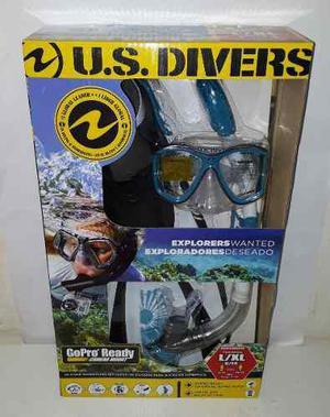 Kit de buceo con snorkel visor aletas us divers adulto