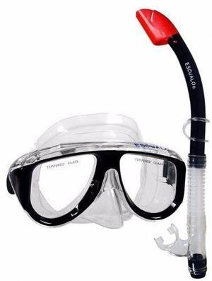Mascara y snorkel color negro - escualo modelo coral