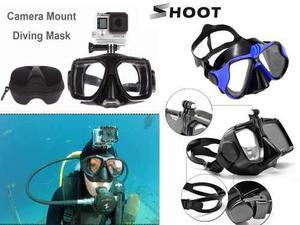 Visor buceo snorkel negro ó azul montura gopro y estuche
