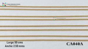 Cadena argollas 50cms 2.5mm acero inoxidable dorado