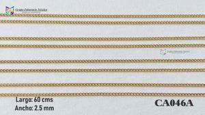 Cadena argollas 60cms 2.5mm acero inoxidable dorado