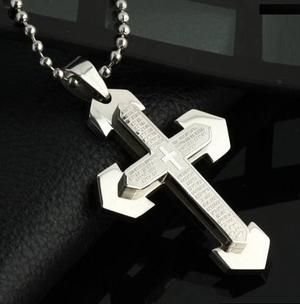 Collar hombre cruz acero inoxidable con oración pn