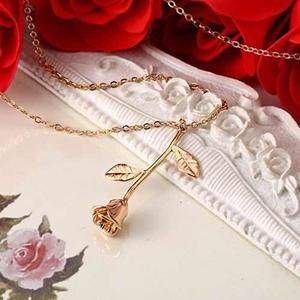 eac1049f0792 Collar rosa flor mujer regalo vintage barato mayoreo novia en México ...