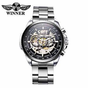 Winner reloj mecánico automático ahuecado de alto calidad