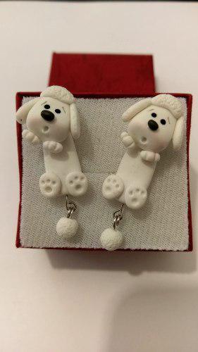 Aretes de perro french blanco de pasta francesa envio gratis
